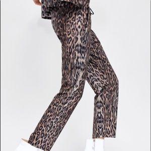 Zara leopard print jogger pants L